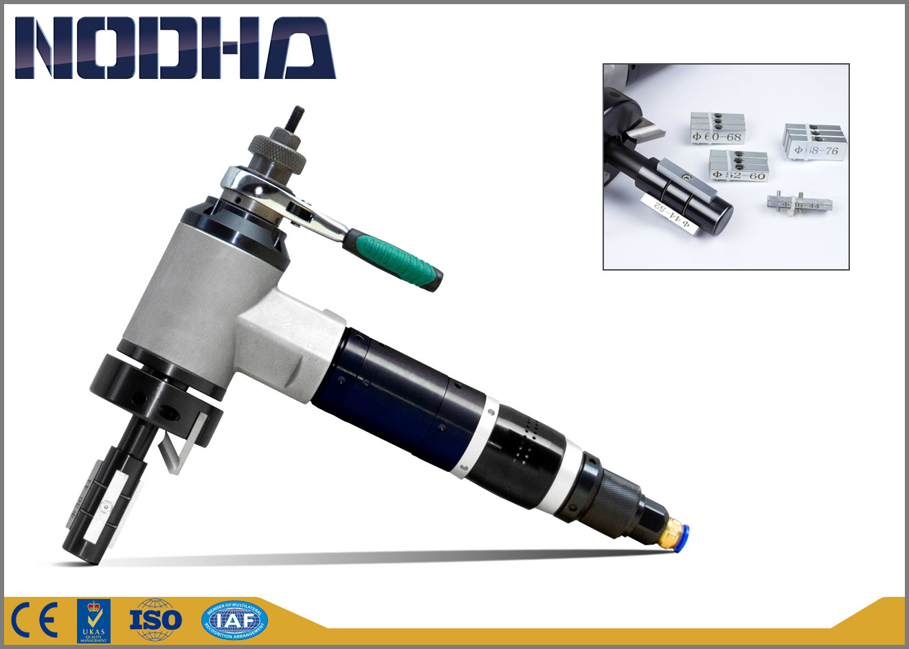 900L/Min@0.6Mpa Pneumatic Pipe Beveling Machine autofeed 3'' OD new surface treatment OEM / ODM Available NODHA