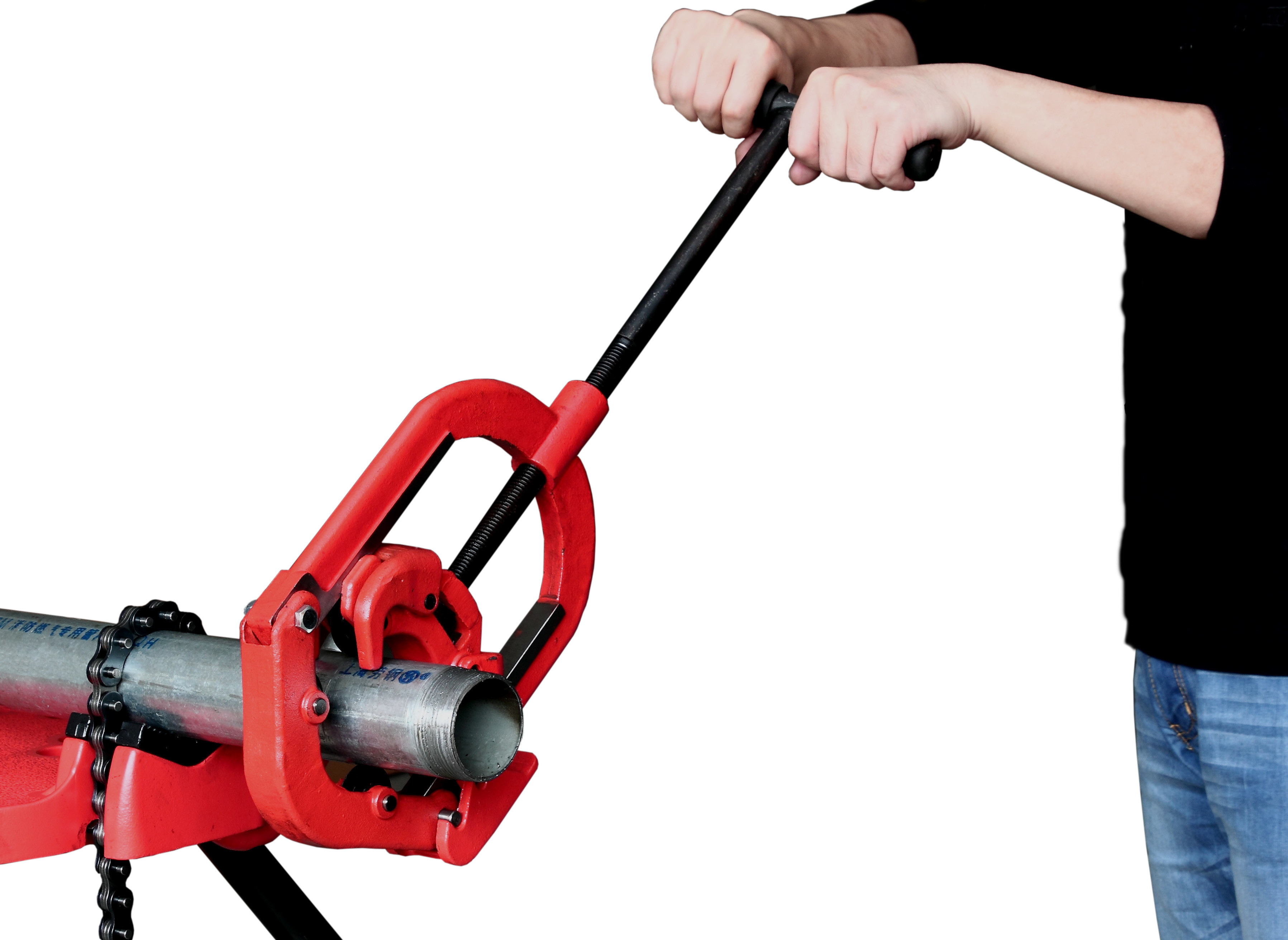 "Red 1"" 1/2"" Hinged Portable Pipe Cutting And Beveling Machine"